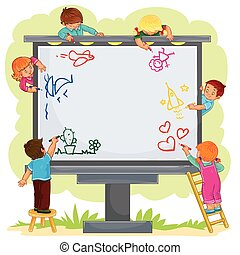 Happy children together draw on a large billboard