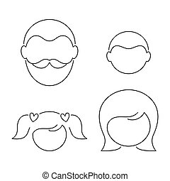 Black vector thin line family icons