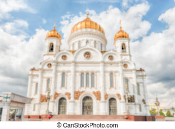Defocused background with Cathedral of Christ the Saviour,...