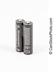 Two unbranded black AA rechargeable batteries, isolated on...
