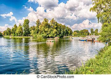Idillic lake inside Gorky Park, Moscow, Russia - Idillic...