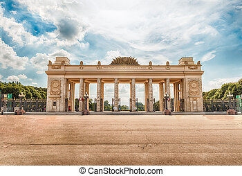 Main entrance gate of the Gorky Park, Moscow, Russia - Main...