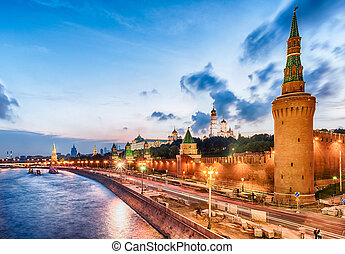 Scenic view over the Kremlin and Moskva River, Moscow,...