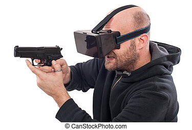 Man play VR shooter game with virtual reality gun and vr...