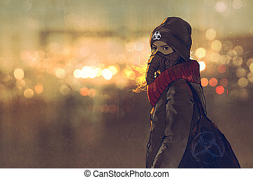 outdoor portrait of young woman with gas mask in winter with...