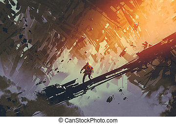 man standing in abstract architecture city,illustration...