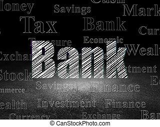 グランジ, 部屋, 暗い, 通貨, 銀行,  concept: