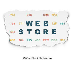 Web development concept: Web Store on Torn Paper background...