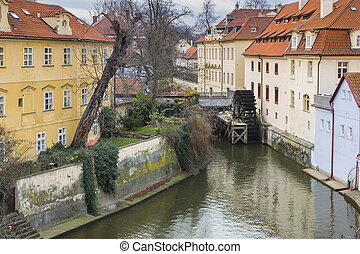 Prague - Old water mill in the city of Prague