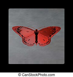 Vintage mystical butterfly in scarlet colors on black...