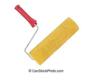 Paint roller closeup isolated on a white