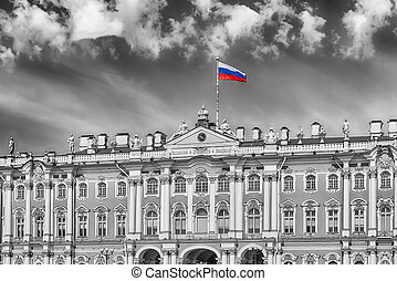 Facade of the Winter Palace, Hermitage Museum, St....