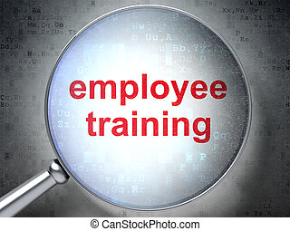 Education concept: Employee Training with optical glass