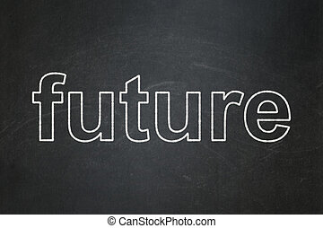 Time concept: Future on chalkboard background - Time...