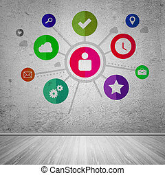 User interface, concept of social network - Group of...
