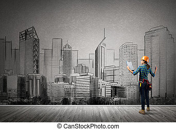My development plan - Back view of engineer woman with...