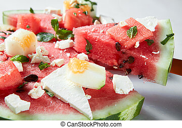 watermelon slices with cottage cheese - Ingredients for the...