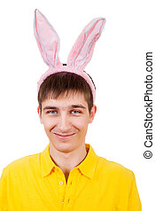 Teenager with Bunny Ears - Young Man with Rabbit Ears...