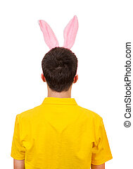 Man with Bunny Ears - Rear View of a Man with Rabbit Ears...