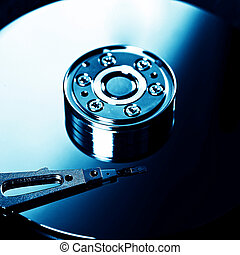 Hard Disk Drive - Toned Photo of the Opened Hard Disk Drive