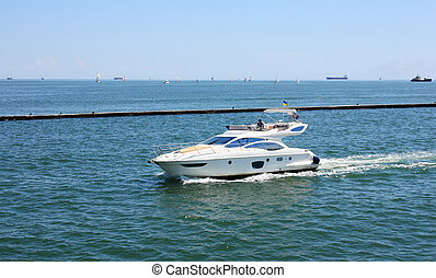 speed boat - white speed boat
