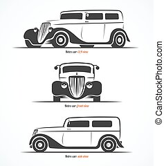 Set of retro car silhouettes. Vintage or classic car...