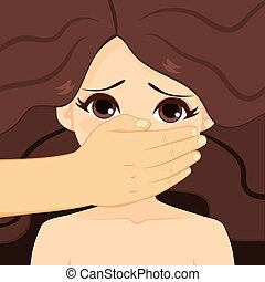 Violence Against Women Concept - Man hand covering mouth...