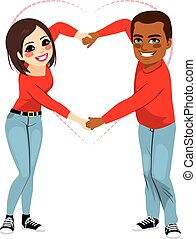 Interracial Saint Valentine Love - Lovely African American...