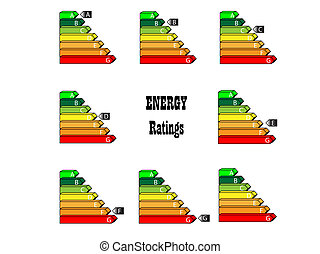 Energy Ratings - energy saving scale - ratings A to G