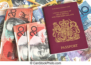 mixture of euros and a passport