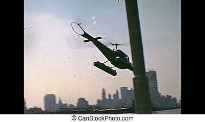 New York helicopter - Vintage footage on 1970 about ground...