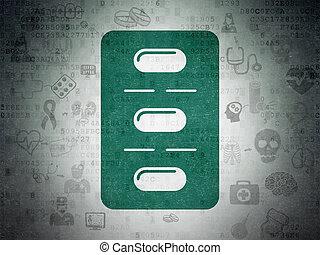 Healthcare concept: Pills Blister on Digital Data Paper...