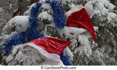 Christmas snow-covered branches in a forest where there are caps of Santa Claus and Christmas tree decorations