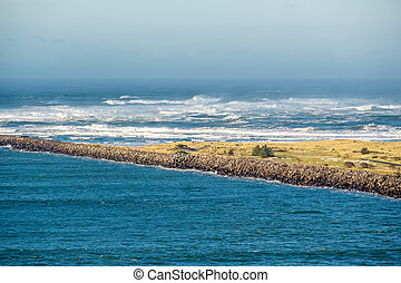 USA Pacific coast landscape, Cape Disappointment, Washington...