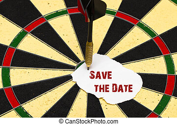Save the Date. Darts with dart which was pinned a sheet of paper for labels