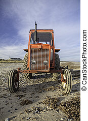 Quirky red beach tractor - Quirky old red beach tractor face...