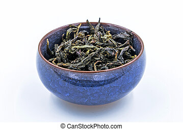 Chinese Oolong Green tea. (Feng Huang Dan Cong) in a blue...