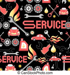 Design machine parts service - Seamless pattern of various...