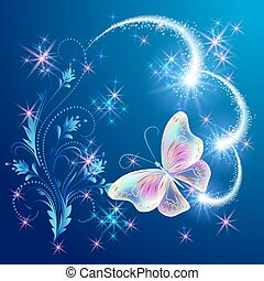 Magic butterfly with floral ornament and firework - Magic...