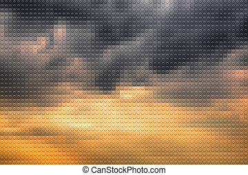 Plastic bricks background - Stormy sky on sunset lookalike...