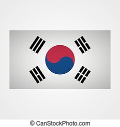 South Korea flag on a gray background. Vector illustration