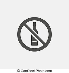 No alcohol icon in a flat design in black color. Vector...