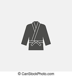 karate kimono icon fish icon in a flat design in black...