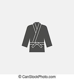 karate kimono icon fish icon in a flat design in black...