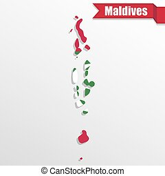 Maldives map with flag inside and ribbon