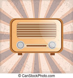 Retro radio on a sun rays background with grunge