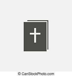 Bible icon in a flat design in black color. Vector...