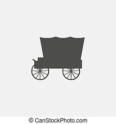 Carriage icon in a flat design in black color. Vector...