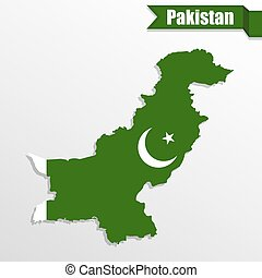 Pakistan map with flag inside and ribbon
