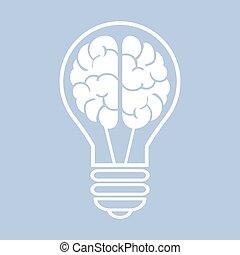 Light bulb with a brain. Vector illustration eps10